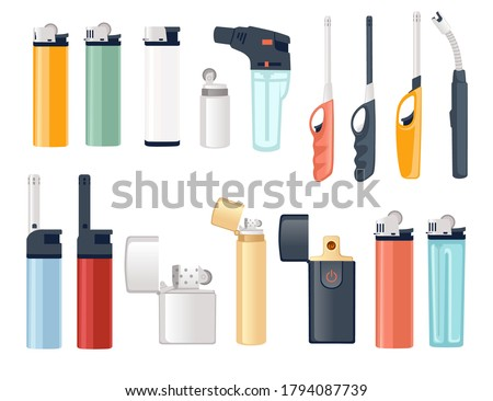 Set of metal and plastic lighter for kitchen or cigarette gas lighter smoker accessory flat vector illustration isolated on white background ストックフォト ©