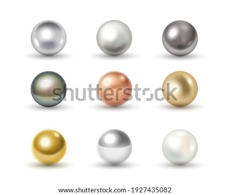 Set of metal balls: golden, chrome, silver, bronze and white 3d spheres isolated on white background with shadows. Realistic glossy balls collection. Vector illustration
