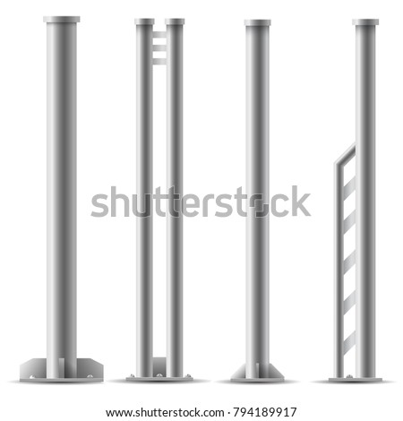 Set of metal columns. Steel truss girder element. Part of Truss construction. Element of Streetlight.