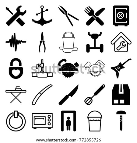 Set of 25 metal filled and outline icons such as metal gate detector, safe, saw blade, pliers, fork and knife, garden tools, wheel, cargo container, anchor, heart lock, guitar