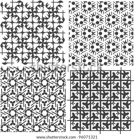 Set of metal grids. vector iron decor theme