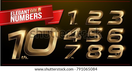 Set of metal numbers alphabet fonts. golden effect letters on a dark background. 1, 2, 3, 4, 5, 6, 7, 8, 9, 10, vector typeface set