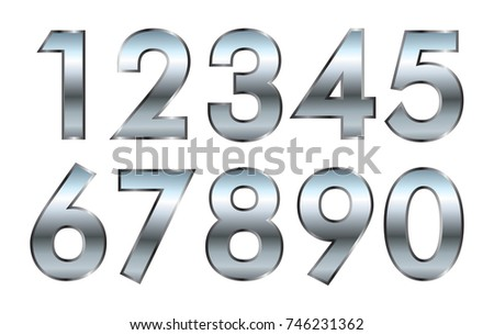 Set of metal numbers.Vector silver numbers.