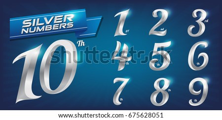 Set of metal numbers. Vector silver numbers. 1, 2, 3, 4, 5, 6, 7, 8, 9, 10, logo design