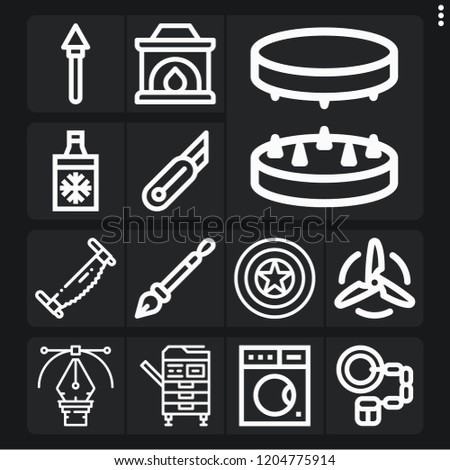 set of 13 metal outline icons