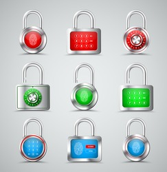 Set of metal padlocks round and square shapes with different types of protection in the form of a combination lock, PIN code and fingerprint on a red, green and blue dial. Vector illustration