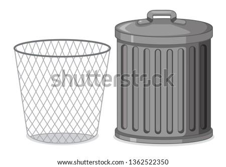 Set of metal plastic container illustration