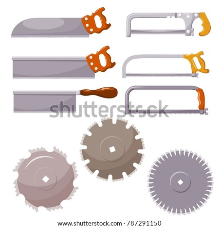 Set of metal saws on a white background. Vector illustration of hand and circular saws. Hacksaws for woodworking