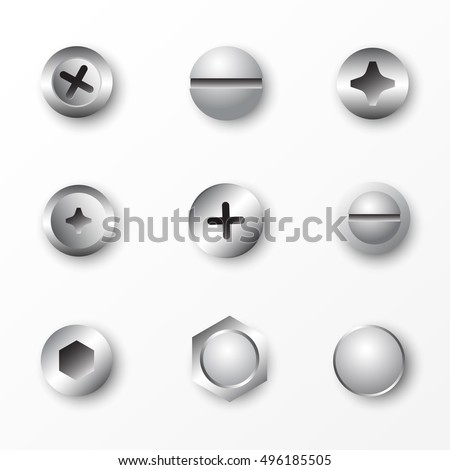 set of metal screws and bolts