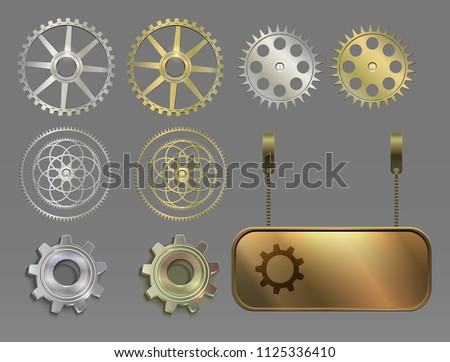 set of metal silver and gold