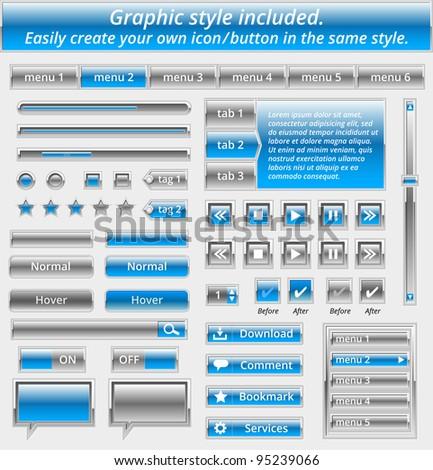 Set of metal web elements - vector file - easily customizable