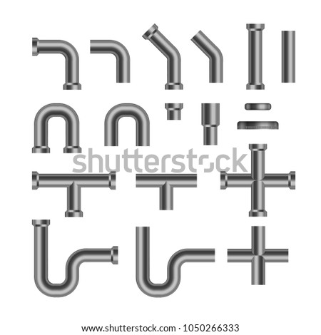 Set of metallic copper sewer pipes. Isolated on white background. Stock vector illustration.