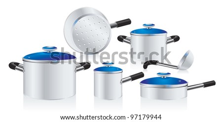 set of metallic pans, covered with color lid