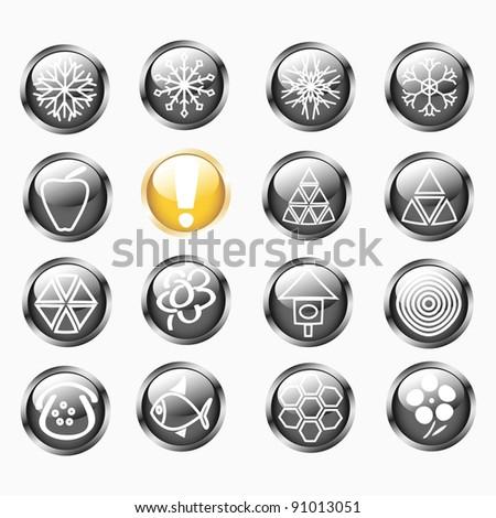 Set Of Metallic Shiny Round Buttons