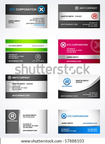 Set of 8 metallic themed business card templates