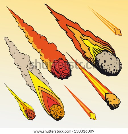 Set of meteorites, vector illustration