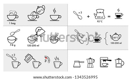 Set of methods of brewing tea and coffee. Preparation instructions. Vector elements for infographics. Set of sign for detailed guideline. Ready for your design.
