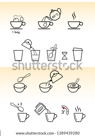 Set of methods of brewing tea and coffee. Preparation instructions. Vector elements for infographics. Sign for detailed guideline. Ready for your design. EPS10.