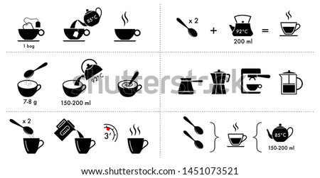 Set of methods of brewing tea and coffee. Preparation instructions. Vector elements for infographics. Set of sign for detailed guideline. Ready for your design. EPS10.