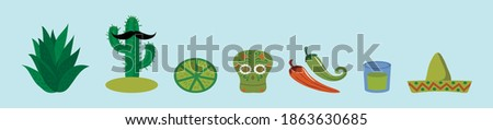 set of mexican cartoon icon design template with various models. modern vector illustration isolated on blue background