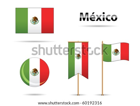 set of mexican flags in bicentennial anniversary