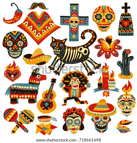 set of mexican holiday symbols