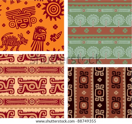 Set of Mexican Seamless Tiles - stock vector