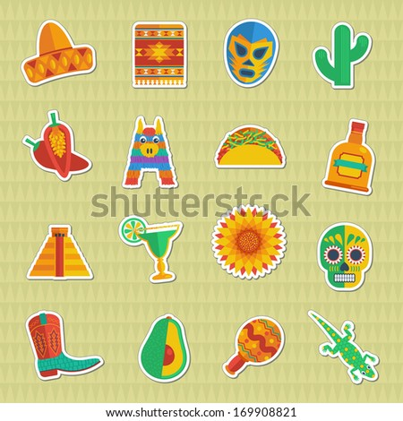 set of mexican themed sticker