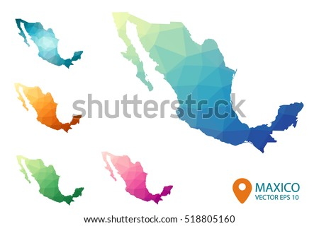 set of mexico maps bright gradient map of country in low poly style multicolored