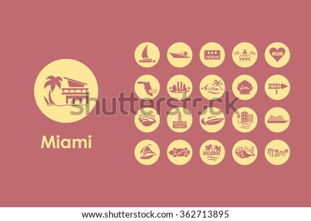 set of miami simple icons