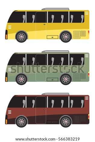 Set of Micro bus or Mini bus isolated in white background vector