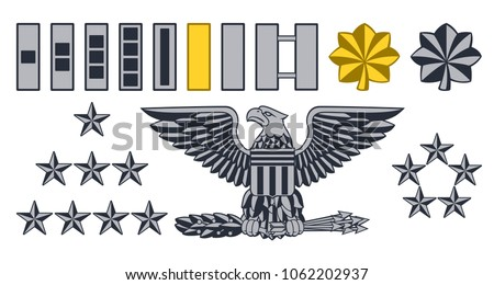Set of military American army officer ranks insignia badges icons