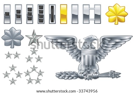 Set of military american army officer ranks insignia icons