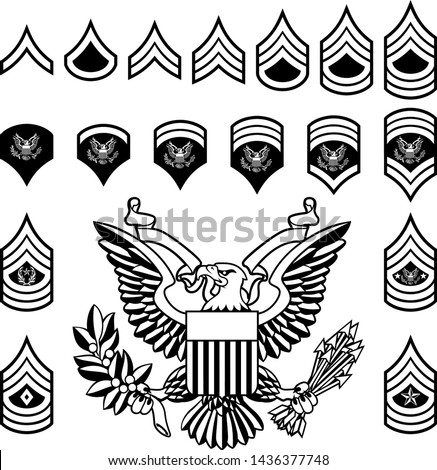 Set of military American enlisted army ranks insignia badges icons