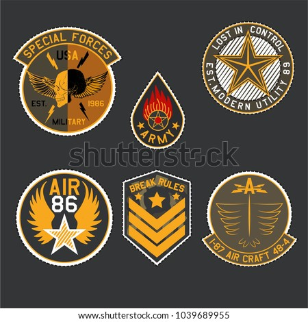 set of military and army badge