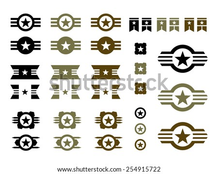 Set of Military Badges in Black, Green and Brown.