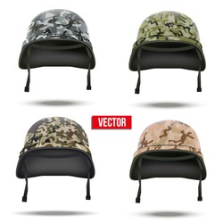 Set of Military camouflage helmets Vector Illustration. Army symbol of defense. Isolated on white background.
