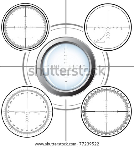 Set of military design elements - sniper scopes over white background. Vector illustration. All images could be easy modified.