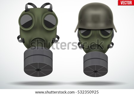 set of military gas masks with