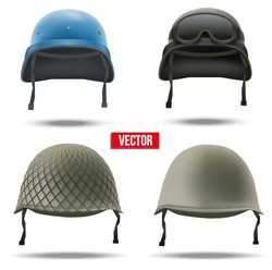Set of Military helmets Vector Illustration. Army symbol of defense. Isolated on white background.