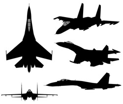 Set of military jet fighter silhouettes