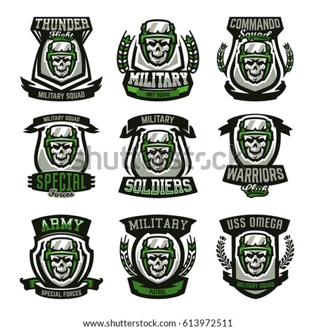 Set of military logos, emblems. Skull, helmet, glasses, soldier, ammunition. Vector illustration, printing on T-shirts