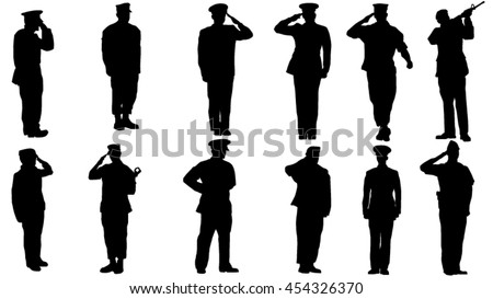 set of military man saluting