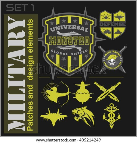 set of military patches logos