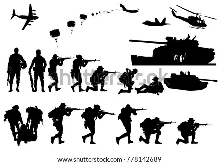 Set of military silhouettes, military vector illustration, Army soldiers, Military silhouettes background.