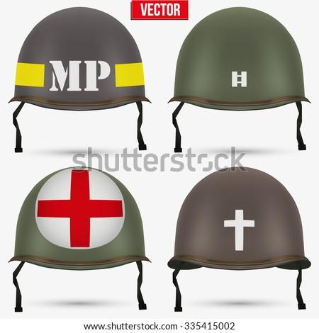 set of military us green helmet