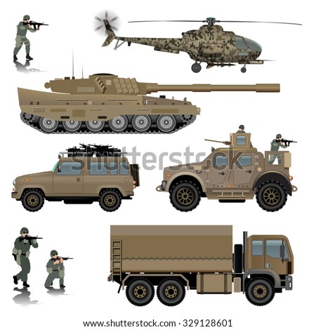 set of military vehicles tank
