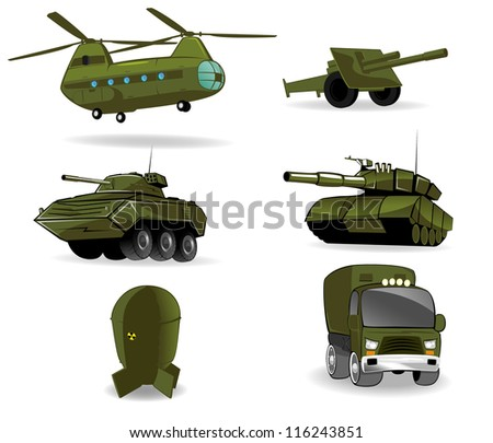 set of military vehicles