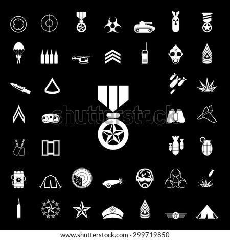 set of military white icons and