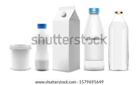 Set of Milk and yogurt vector packaging 3D templates. Collection of blank bottles and cartons that can be used as mock-up in product and marketing design. Pure vector speed up your workflow